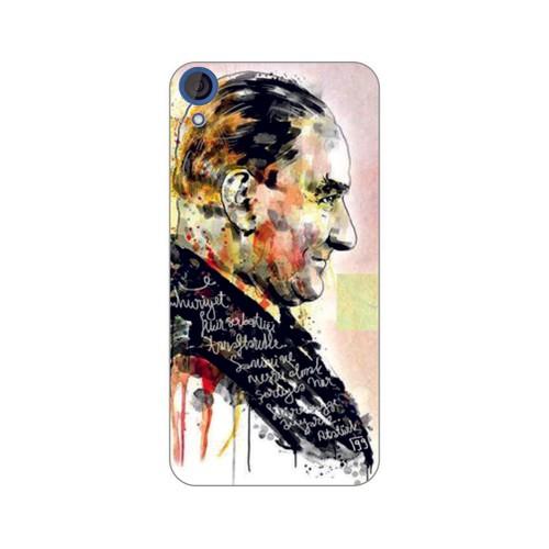 Bordo Htc Desire 828 Kapak Kılıf Atatürk Baskılı Silikon