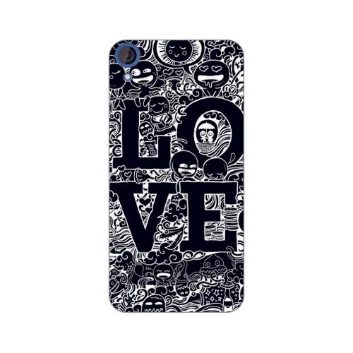 Bordo Htc Desire 728 Kapak Kılıf Love Baskılı Silikon