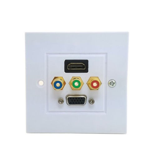 Ti-mesh HDMI VGA 3RCA AV Wall Plate Composite Video Audio Adapter Jack Outlet HDTV 1080pABS