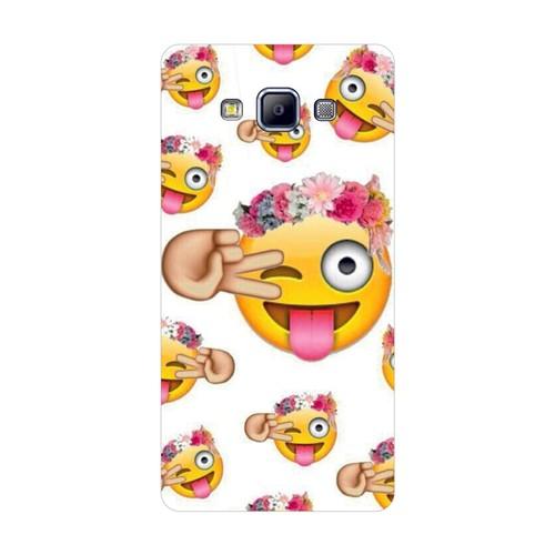 Bordo Samsung Galaxy E5 Kapak Kılıf Emoji Baskılı Silikon