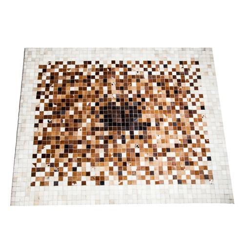 My Home Patchwork Deri Halı - Kahve Beyaz - 120x180 cm