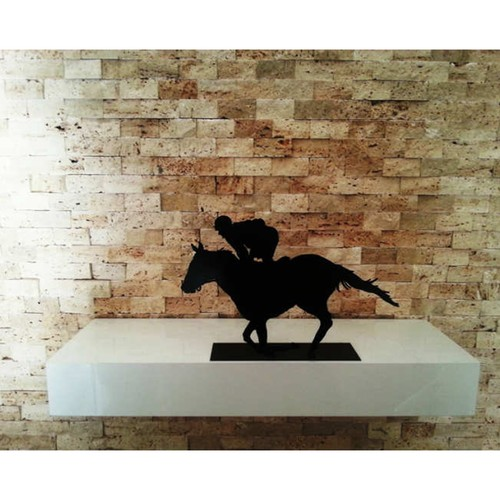 Dekoratif Metal Yarış Atı & Jokey