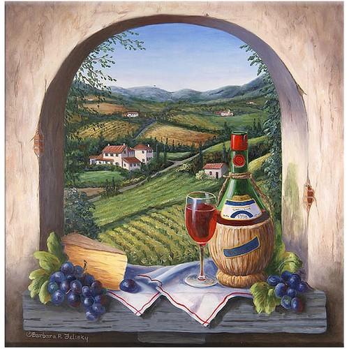 Arte Şarap ve Kadeh Kanvas Tablo