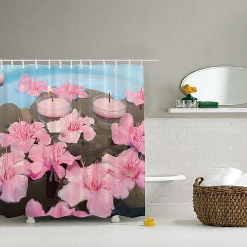 Orange Venue 3D Baskılı Duş Perdesi Pembe Çiçek