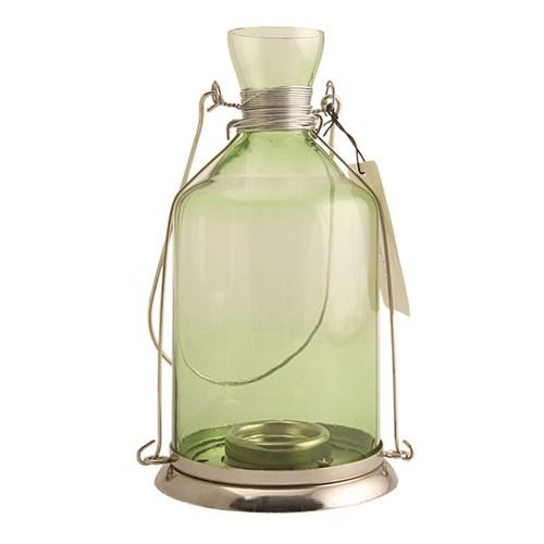 Kanca Ev Kalın Şişe Fener, Beyaz Metalli, Yeşil