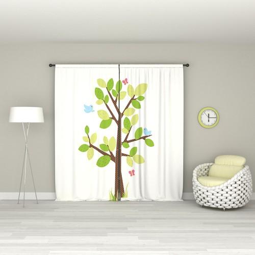 Eren Ev Benekli Ağaç Pano Desen Fon Perde Sol
