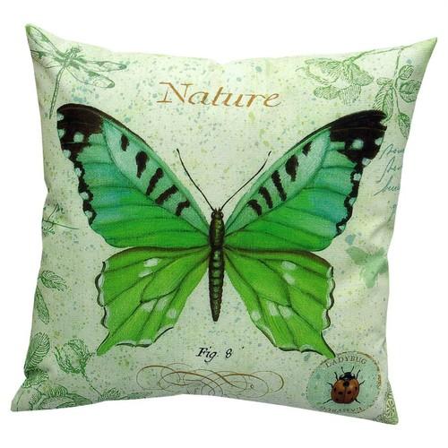 Dolce Home Vintage Collection Yeşil Kelebek Desenli Yastık