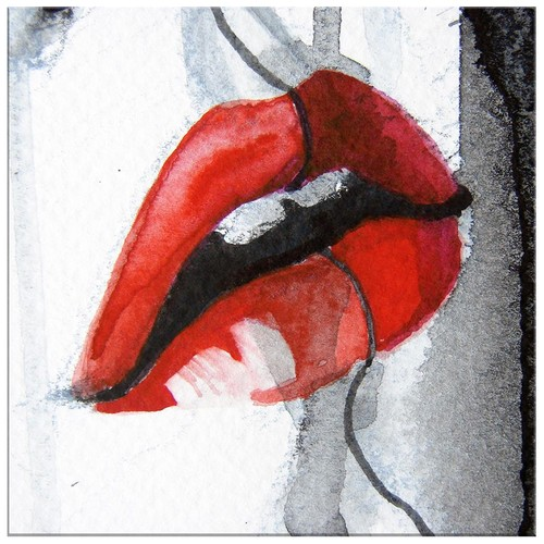 Arte Kırmızı Dudak Kanvas Tablo