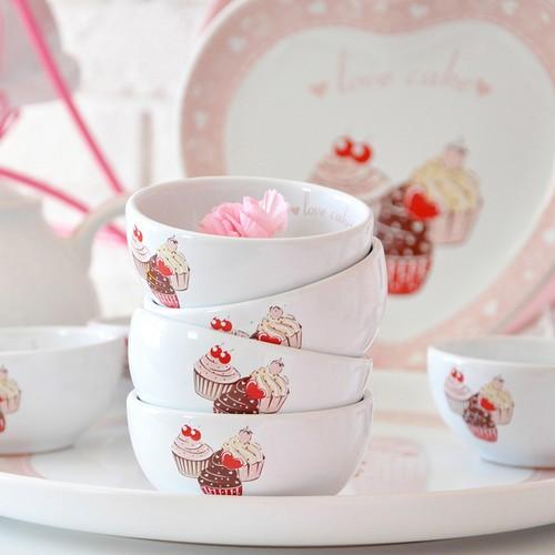 Keramika 8 Parça Hitit Kahvaltı Seti Beyaz Pembe Cake