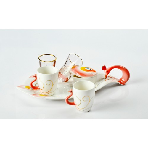 Yargıcı Porselen Kuğulu Kırmızı 6lı Kahve Takımı