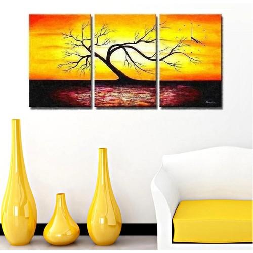 Tictac Design 3 Parça Tablo Saat Ağaçlar