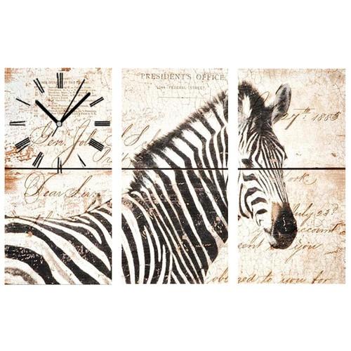 Tictac Design 3 Parça Tablo Saat Zebra