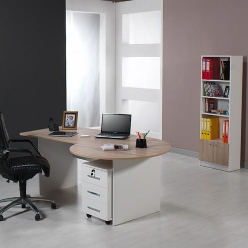 Dessenti Kristal Ofis Kitaplık Beyaz Sonomo