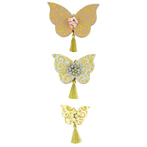 Orta Sofa Çiçekli Püsküllü Kelebek Set