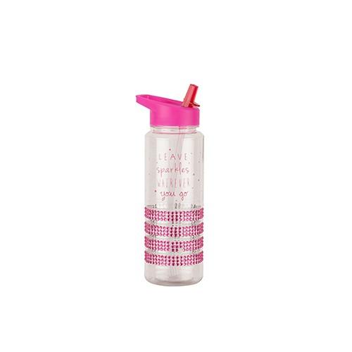 Tantitoni Plastik Desenli Taşlı Pembe Sportif Su Şişesi - 700 ml