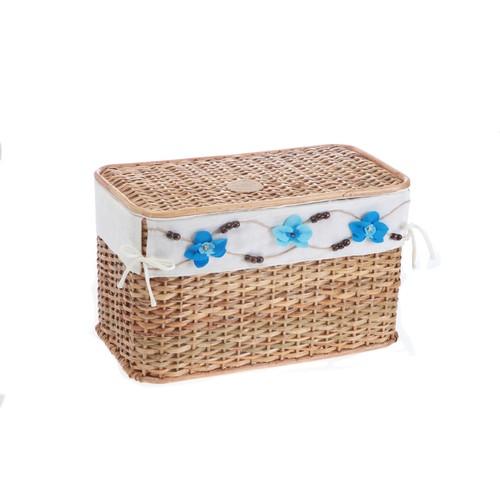Kancaev Hasır, Açık Kahverengi Yatay Çamaşır Sepeti, Mavi Çiçekli, Küçük