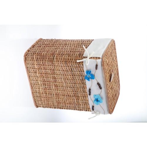 Kancaev Hasır, Açık Kahverengi Dikey Çamaşır Sepeti, Mavi Çiçekli, Orta