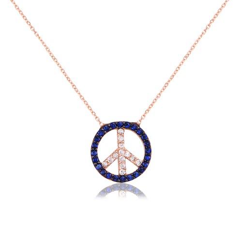 Coşar Silver Barış Logolu Gümüş Kolye CZ0051N