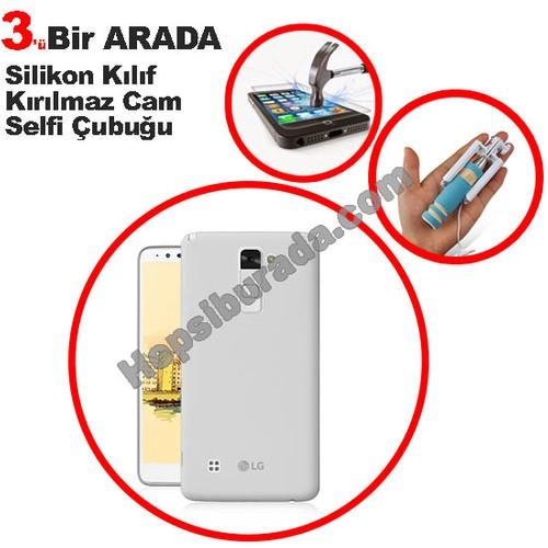 Teknomeg Lg Stylus 2 Şeffaf Silikon Kılıf + Temperli Kırılmaz Cam + Selfie