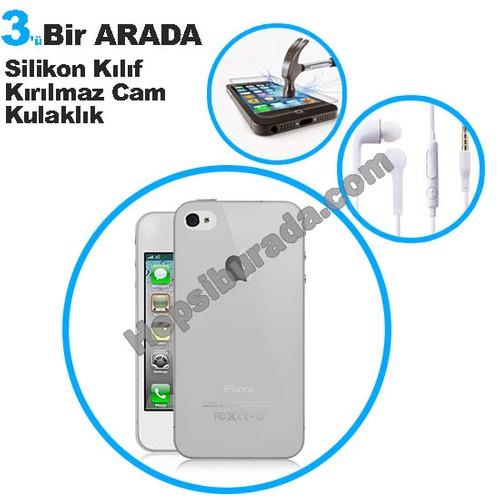 Teknomeg Apple İphone 4S Şeffaf Silikon Kılıf + Temperli Kırılmaz Cam + Kulaklık