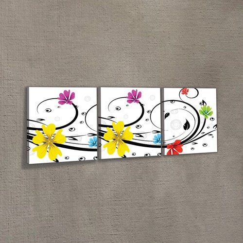 Artikel Dancing Flowers 3 Parça Kanvas Tablo 40x120 Cm