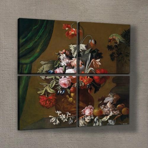Artikel Dark Flower 4 Parça Kanvas Tablo 70X70 Cm