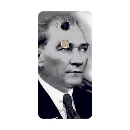 Bordo Huawei G8 Kapak Atatürk Kılıf Baskılı Silikon