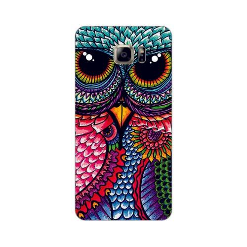 Bordo Samsung Galaxy Note 5 Kapak Kılıf Renkli Baykuş Baskılı Silikon