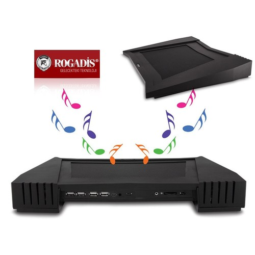 Rogadis 80408 Tek Fanlı Speaker+4Adet Usb Hub Notebook Soğutucu Stand