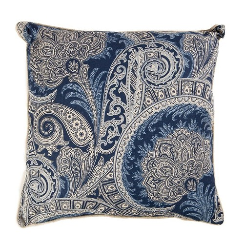 Şal Desenli Lacivert-Beyaz Keten Yastık