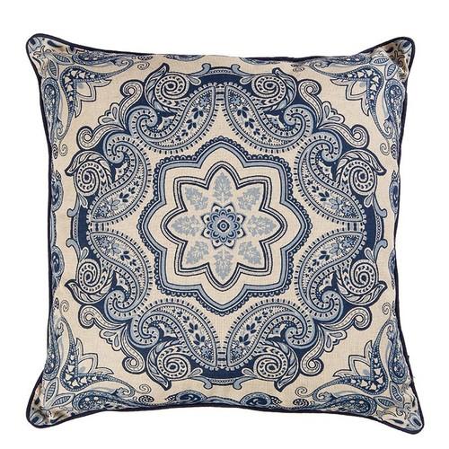Şal Desenli Mavi-Beyaz Keten Yastık