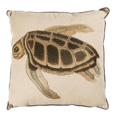 Büyük Kaplumbağa Nakışlı Kare Yastık