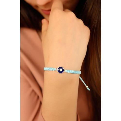 Açık Mavi İp Tasarımlı Yuvarlak Nazar Boncuk Detaylı Bayan Bileklik Modeli