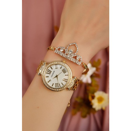 Sarı Kaplama Metal Kordonlu Bayan Saat ve Kristal Taşlı Taç Bileklik Kombini