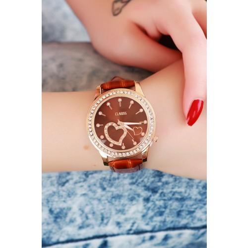 Clariss Marka Kahverengi Çatlak Deri Tasarımlı Bayan Saat