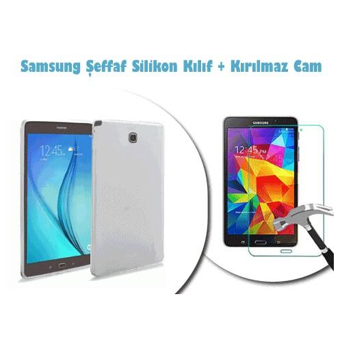 Toptancı Kapında Samsung Galaxy Tab N8000 Kırılmaz Cam + Şeffaf Kılıf