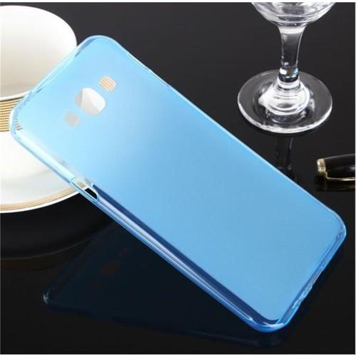 Toptancı Kapında Samsung Galaxy Alpha Mavi Şeffaf İnce Silikon Kılıf