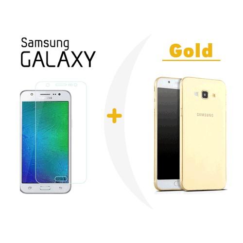 Toptancı Kapında Samsung J7 Gold Şeffaf Silikon Kılıf + Kırılmaz Cam