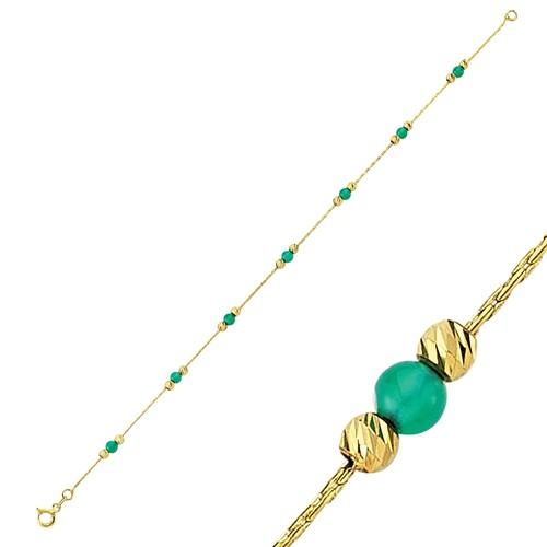 Diva Pırlanta 14 Ayar Altın Yeşil Taşlı Bileklik