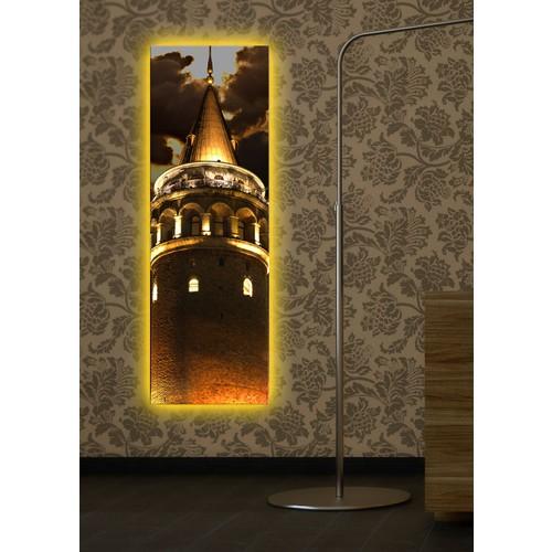Galata Kulesi Arkadan Aydınlatmalı Kanvas Tablo - 30X90 Cm