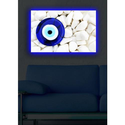 Nazar Boncuğu Arkadan Aydınlatmalı Kanvas Tablo - 45X70 Cm