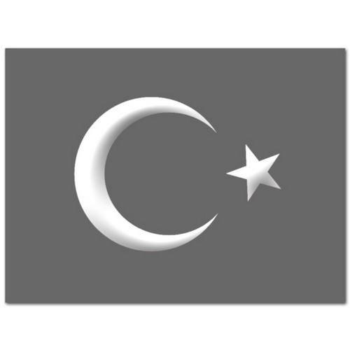 Ay Yıldız Çıkartması Orta Boy Beyaz 13Cmx12Cm