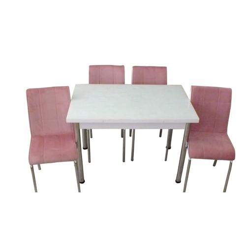 Mutfak Masası Takımı Cam Beyaz Yan Açılır Masa+4 Pembe Tay Tüyü Kumaş Sandalye