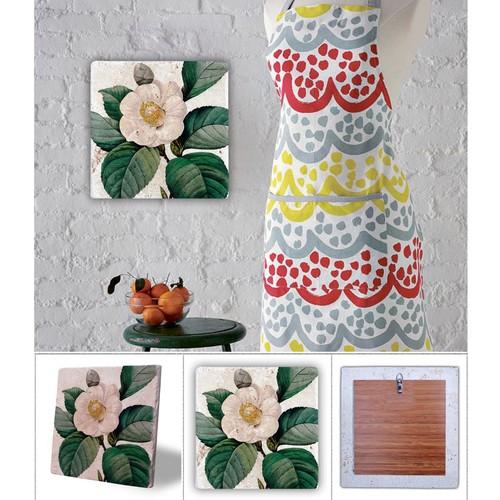 Oscar Stone Pembe Çiçek Doğal Taş Tablo - 20X20 Cm