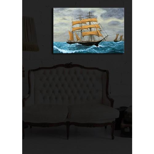 Yelkenli Gemi İçten Aydınlatmalı Kanvas Tablo -45X70