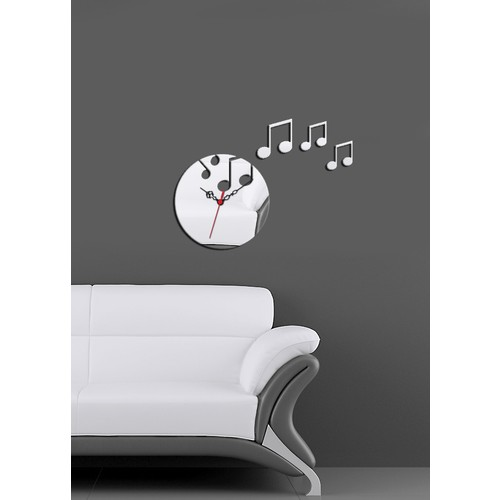 Müzik Yuvarlak Kırılmaz Ayna Saat
