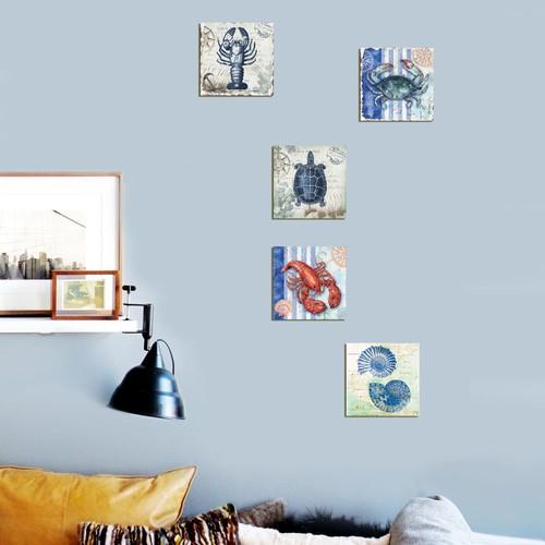 Dekorjinal 5 Parçalı Dekoratif Tablo Yengeç -Utb087