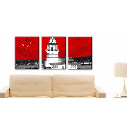 3 Parça Kanvas Saat - Kız Kulesi Kırmızı