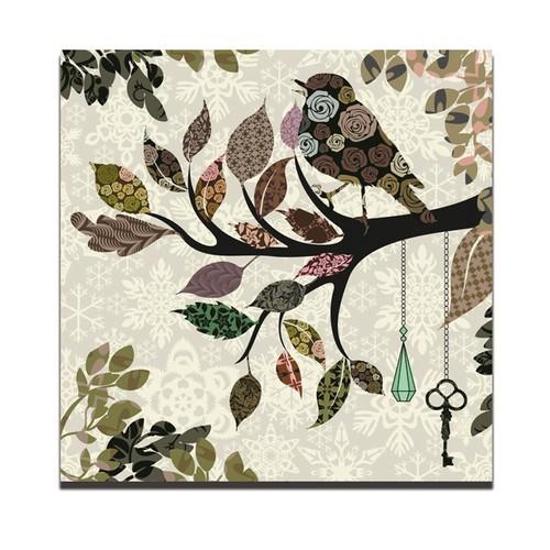 Dolce Home Dekoratif Tablo Gül Desen Kuş Dg1b1k20m20