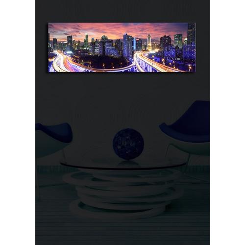 Şehir Trafik İçten Aydınlatmalı Kanvas Tablo -30X90
